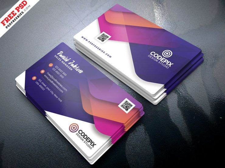 Colorful Business Card Free PSD Template