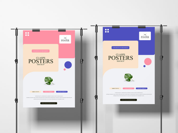 Concrete Environment Clasps Posters Free Mockup