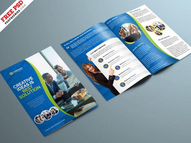Corporate Bi-Fold Brochure Free PSD Template