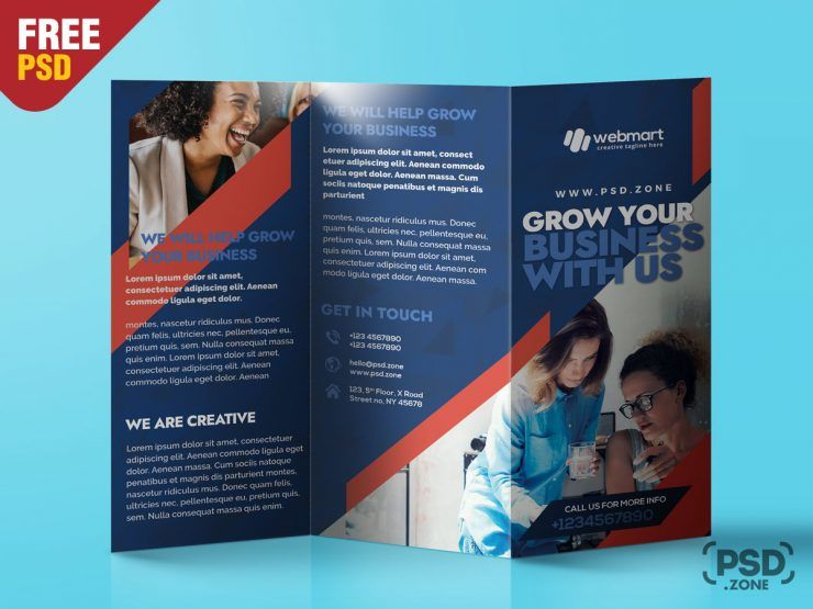 Creative Agency Tri-Fold Brochure PSD Free Template