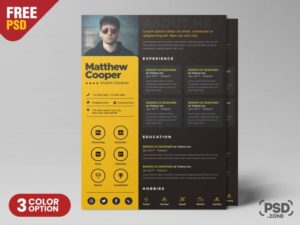 Creative Resume Freebie PSD Template
