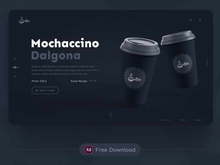 Dalgona Coffee Landing Page Free XD