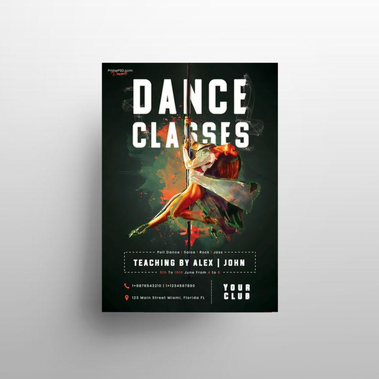 Dance Classes PSD Freebie Flyer Template