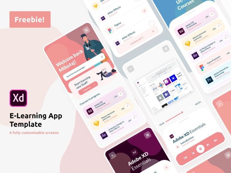E-Learning App Concept UI Kit in XD