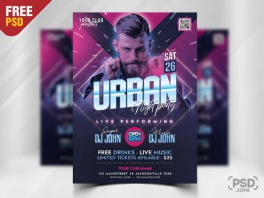 Electro Party PSD Freebie Flyer Template