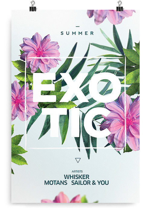 Exotic - Free Summer Floral PSD Flyer