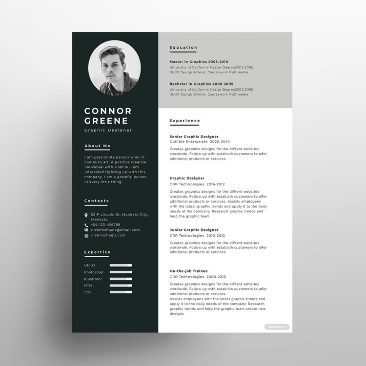 Experience Resume Free PSD Template