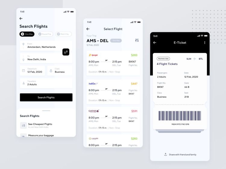 Flight App Free XD UI Kit