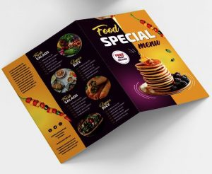 Food Menu Bi-Fold Brochure Freebie (PSD)
