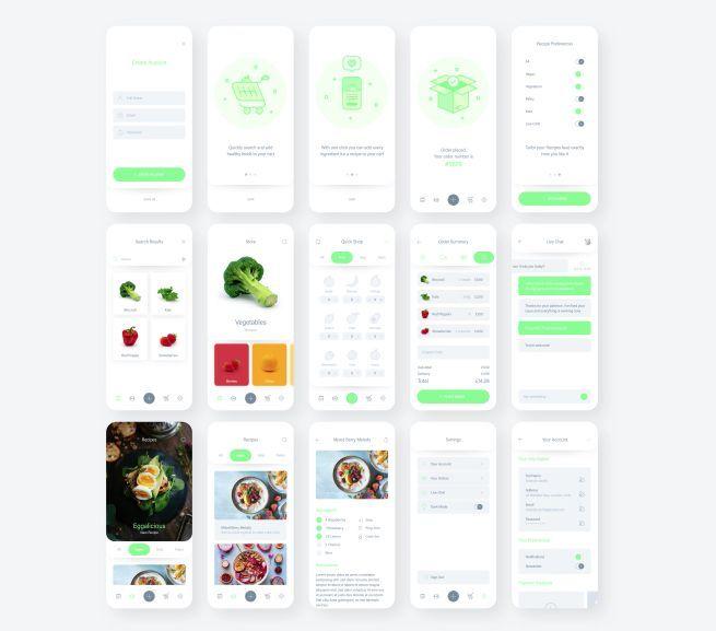 Fresh Food Mobile UI Kit Free XD