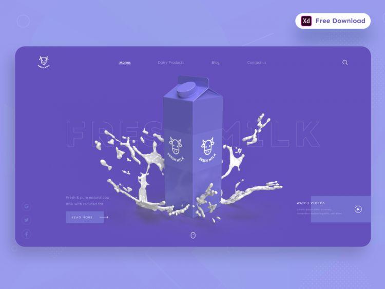 Fresh Milk Freebie Landing Web Page in XD