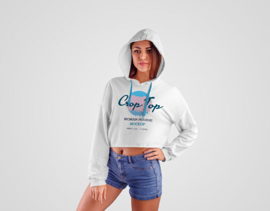 Girl Wearing Crop-Top Hoodie Free Mockup