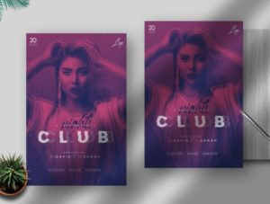 Glitch Party PSD Free Flyer Template