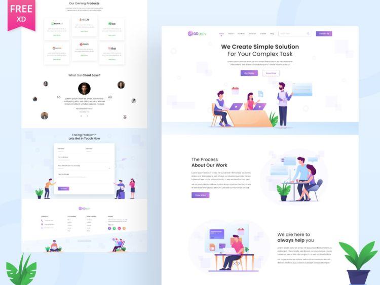 Gotech - Free XD Startup Website Template