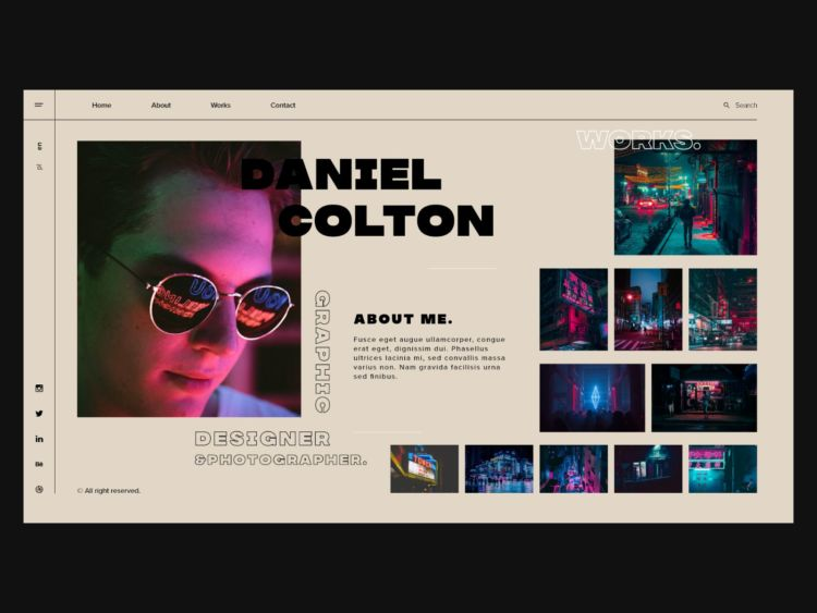 Graphic Designer Portfolio Template Website Free in XD