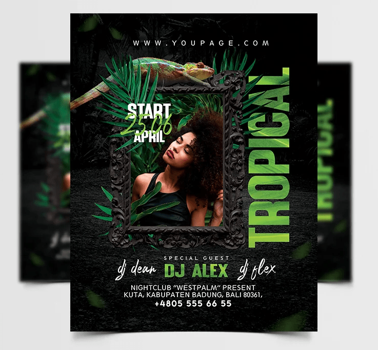 Green Tropical Free PSD Flyer Template