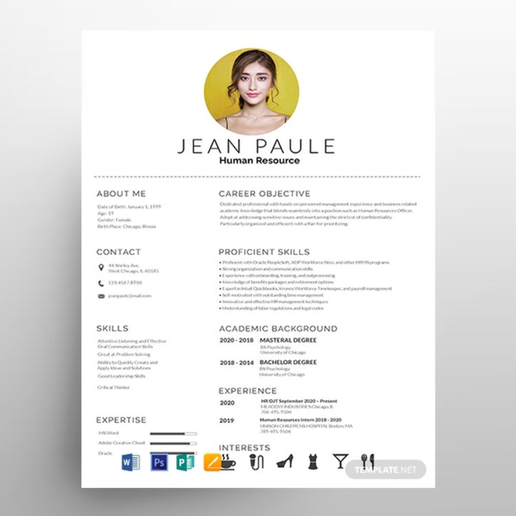 HR Fresher - Free Resume CV Template