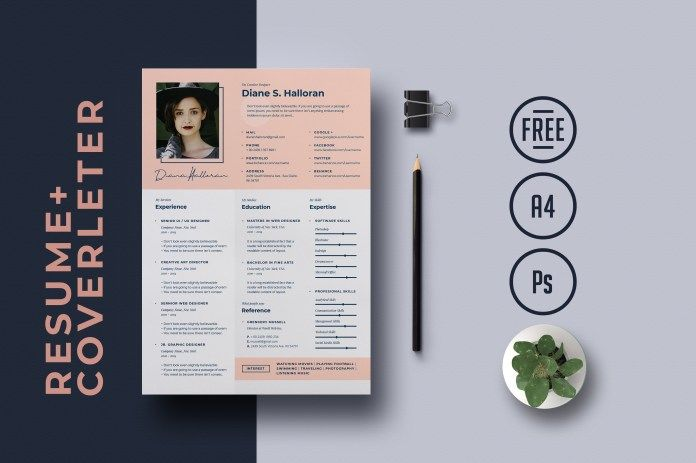History Resume Free PSD Template