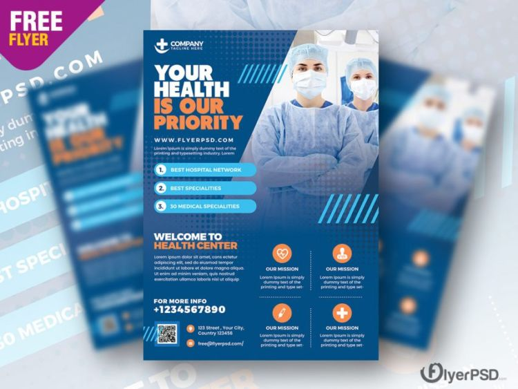 Hospital Medicine Ad Freebie PSD Flyer Template