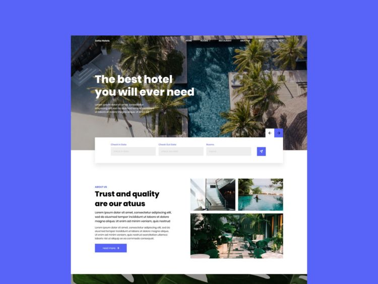 Hotel Website - Free XD Template