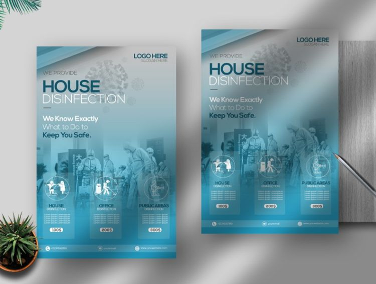 House Disinfection Services Free PSD Flyer Template
