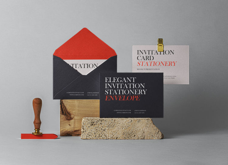 Invitation Card & Envelope Free Mockup