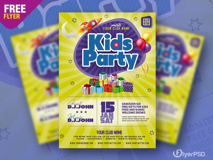 Kids Party Event Free PSD Flyer Template