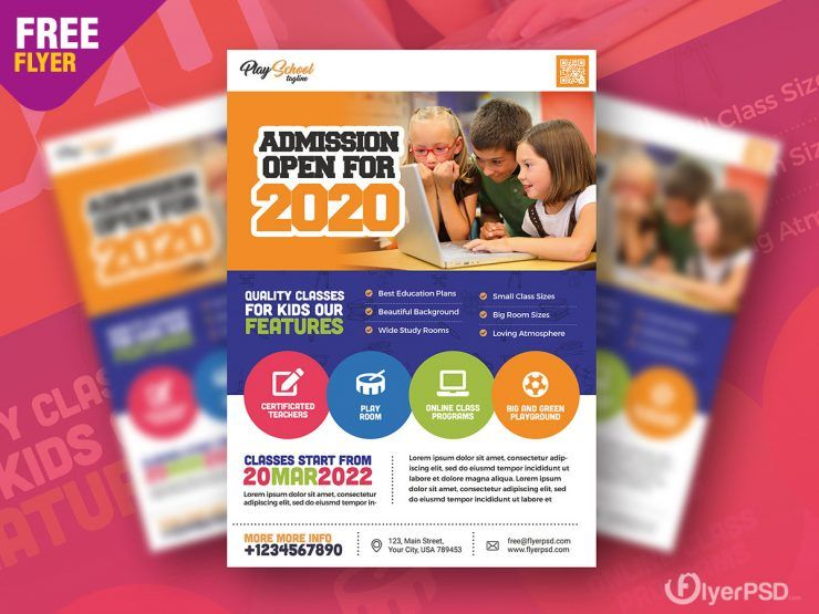 Kids School Free PSD Flyer Template