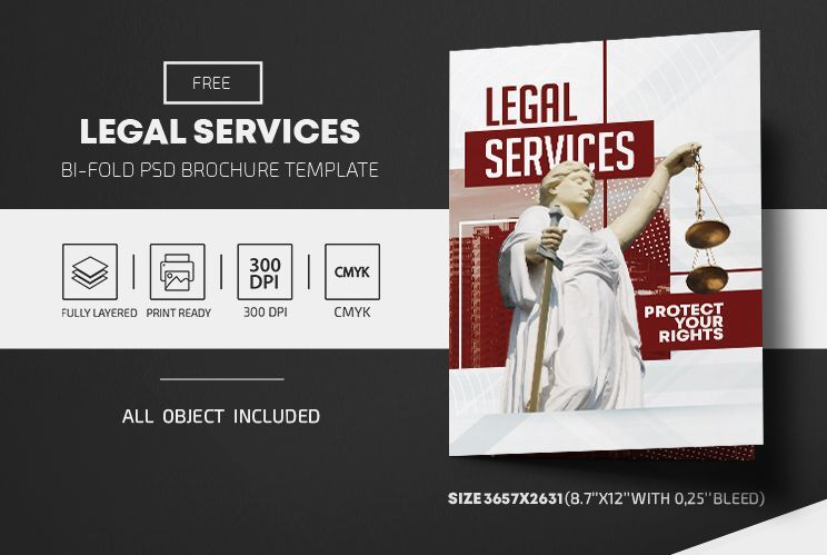 Legal Services Bi-Fold Brochure Free PSD Template