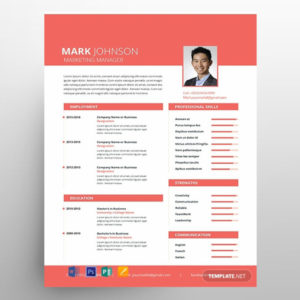 Marketing Manager CV Resume Free Template