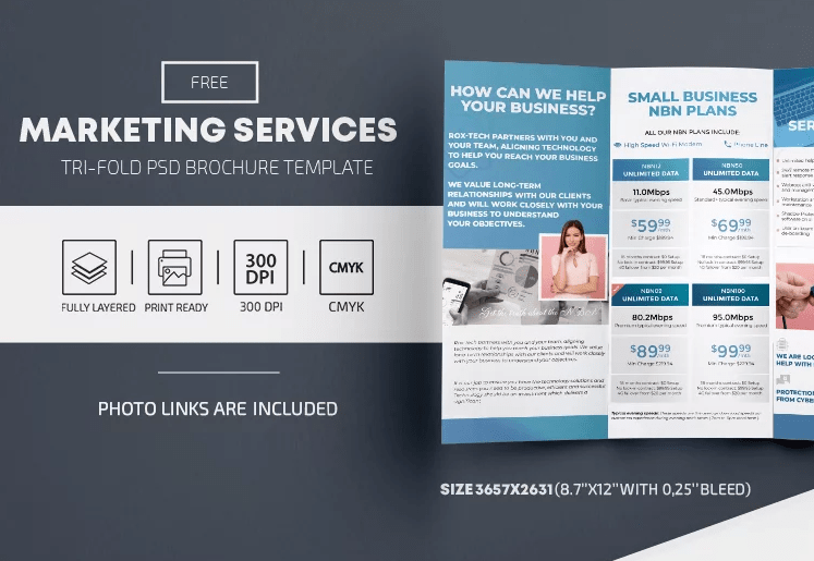 Marketing Services Free Tri-Fold Brochure PSD Template