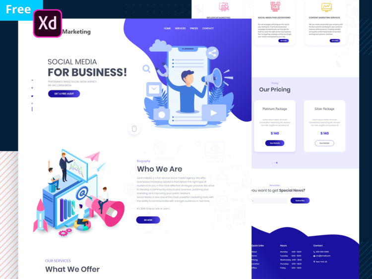 Marketing Website Template Free in XD