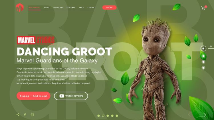 Marvel Groot Free Landing Page in XD