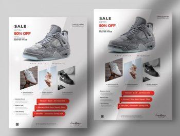 Mega Sale Shoes Free PSD Flyer Template
