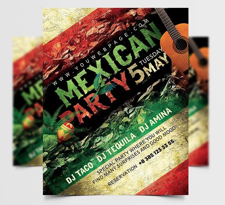 Mexican Party Night Free PSD Invitation Template
