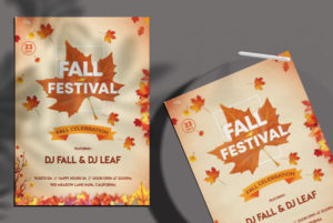 Minimal Fall Festival Autumn Free PSD Flyer Template
