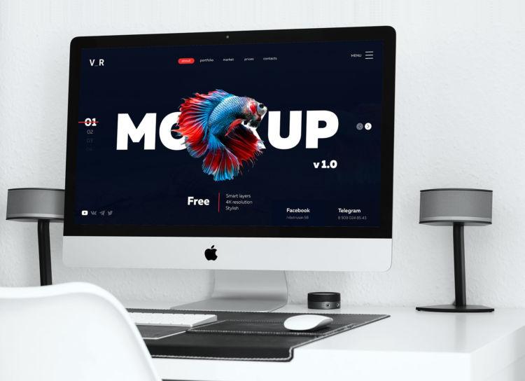 Minimal Scene 4K iMac Desktop Free Mockup