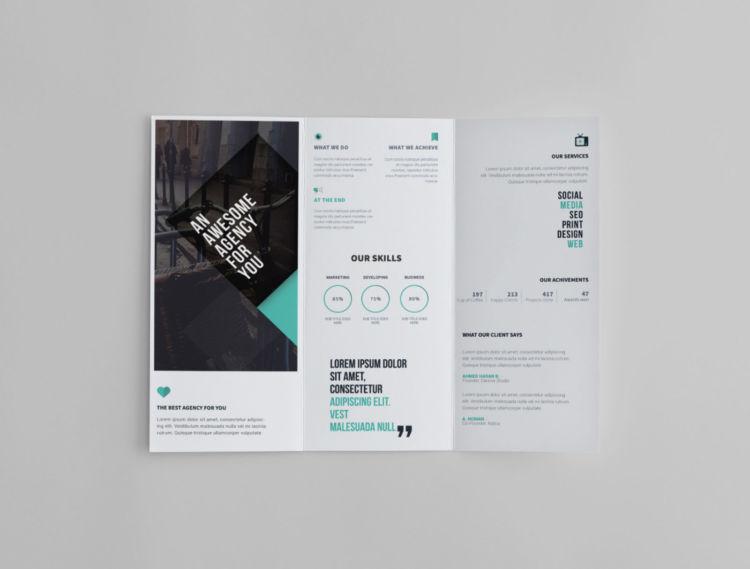 Minimal Tri-Fold Brochure Free PSD Template