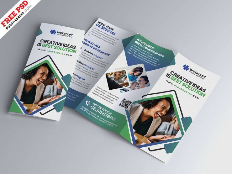 Modern Tri-Fold Brochure Free PSD Template