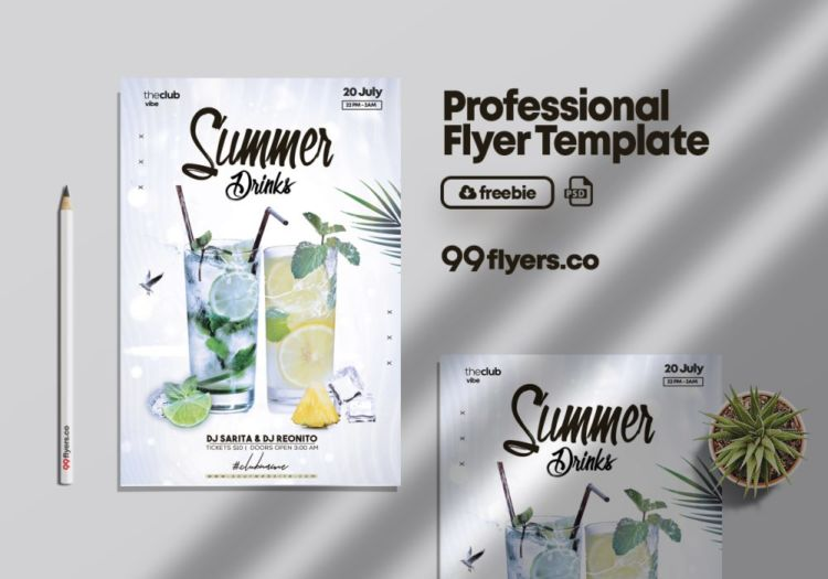 Mojito Drink - Free Party PSD Flyer Template