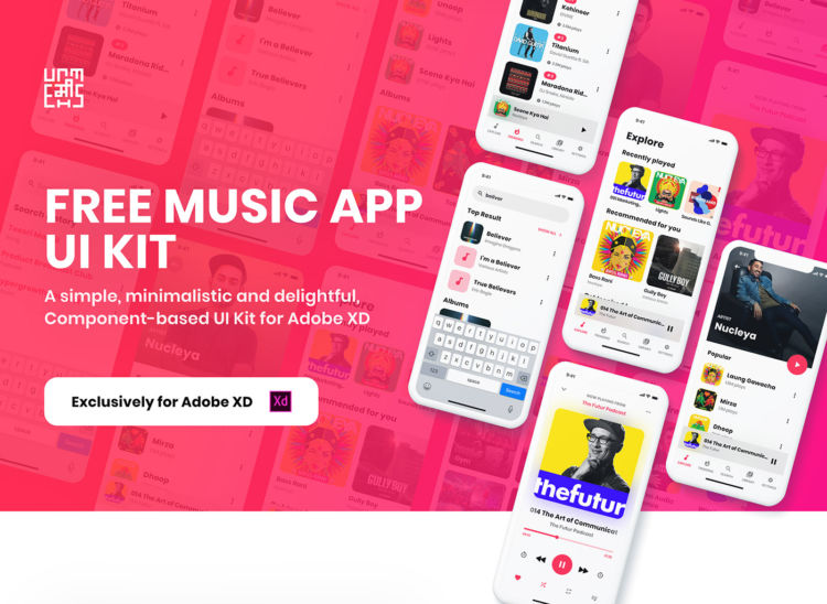 Music App UI kit Free XD