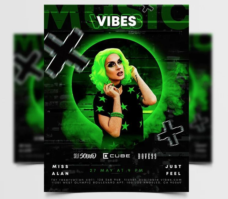 Music Vibes Free Neon PSD Flyer Template