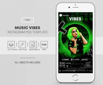 Music Vibes - Party Free Instagram PSD Template