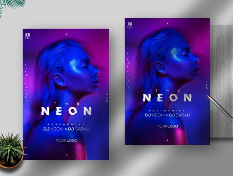 Neon Glitch Party Free PSD Flyer Template