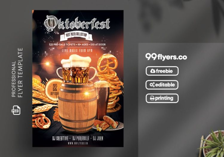 Oktoberfest - Beerfest Free PSD Flyer Template