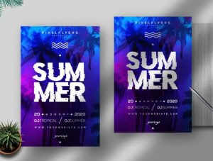 On the Beach Free Party PSD Flyer Template