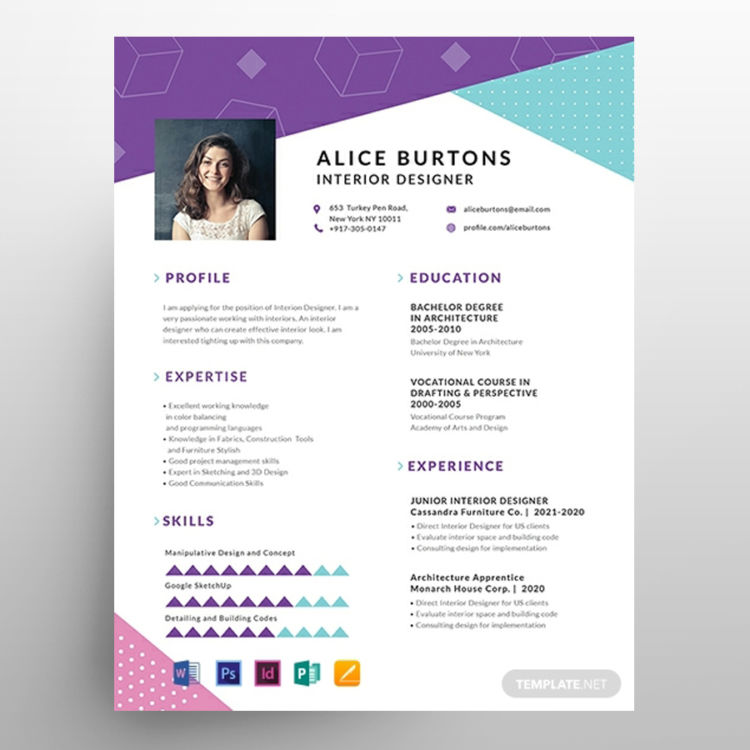 One Page Resume CV for Experienced Free Template
