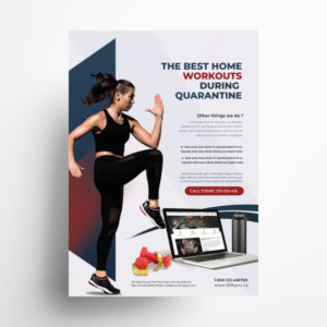 Online Fitness Training Free PSD Flyer Template