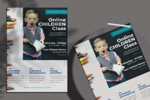 Online School Learning Free PSD Flyer Template