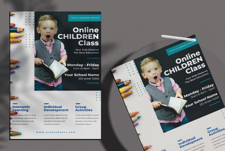 Online School Learning Free PSD Flyer Template